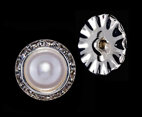 20mm Rondel Button with Imitation Pearl Center - 11789/20mm ()