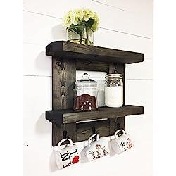 Rustic Wooden Kitchen Shelf / Coffee Shelf with Mug Hooks by Mountain Creek Woodworks (Ebony)