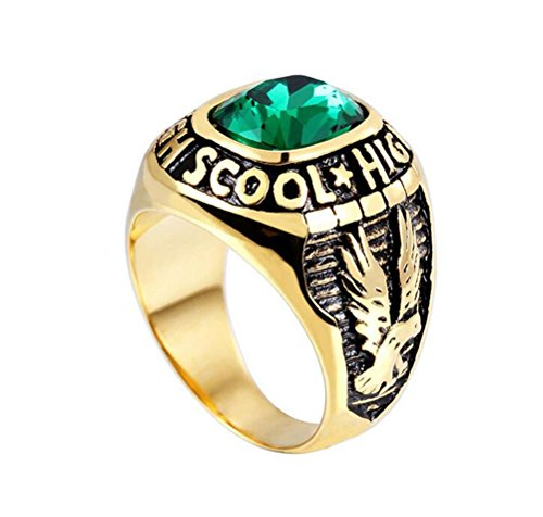 - HIJONES Men's Stainless Steel Engraved Eagle High School Class Ring with Green Glass Gold Size 10