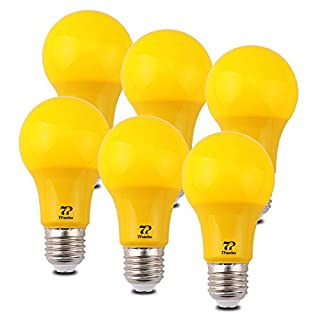 7Pandas LED Yellow Light Bulb, 40W Equivalent, 5W A19 / A60 Color Bulbs with E26 / E27 Medium Base for Halloween Decoration, Home Lighting, Home Decor, Non-Dimmable, Pack of 6