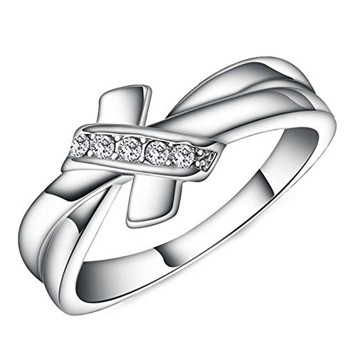 Onefeart Sterling Silver Ring for Women Round Cubic Zirconia Rosette Design Ladies Style Bow-Knot Ring Silver US Size 7