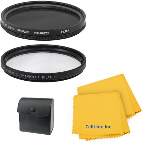 52MM Vivitar Filter Kit (UV, CPL, Warming Intensifier) for NIKON D5200 D5100 D3200 D3100 Cameras + Celltime Elite Cleaning Cloth
