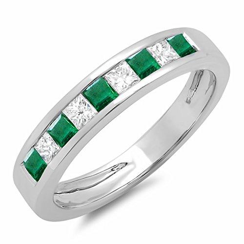 Dazzlingrock Collection 10K Princess Cut Emerald & White Diamond Ladies Wedding Band Stackable Ring, White Gold, Size 7