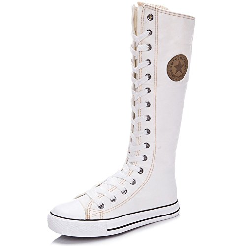Women's Knee High Lace-Up Canvas Zip Dance Cheerleading Shoes Boots (9.5 B(M) US, 801White)