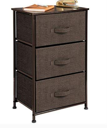 Rm.baby Vertical Dresser Storage Tower - Sturdy Steel Frame, Wood Top, Easy Pull Fabric Bins - Organizer Unit for Bedroom, Hallway, Entryway, Closets - Textured Print - 3 Drawers(Shipped from The US