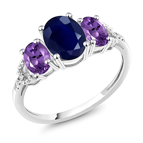 10K White Gold Diamond Accent Three-Stone Engagement Ring set with 2.54Ct Oval Blue Sapphire Purple Amethyst (For Purple Ring Women Sapphire)