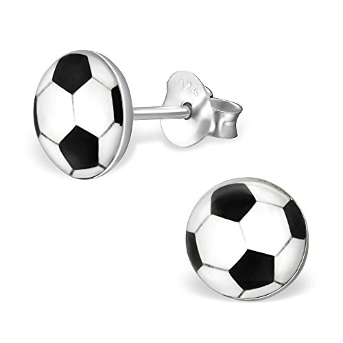925 Sterling Silver Hypoallergenic Round Soccer Ball Stud Earrings 19697