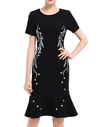 習熟度ターミナル冷えるエレガンス 刺繍 フレア ブラック 二次会 女子会 結婚式 ドレス ワンピースA0142