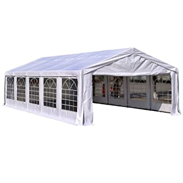 Outsunny 16'W x 32'D Outdoor Carport Canopy Party Tent with Sidewalls White