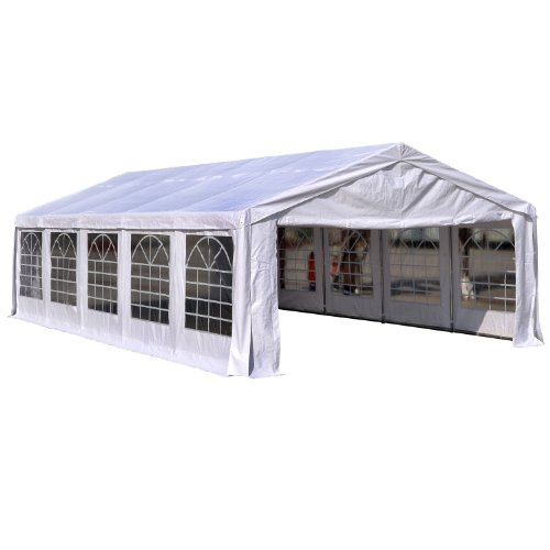 Outsunny 16'W x 32'D Outdoor Carport Canopy Party Tent with Sidewalls – White