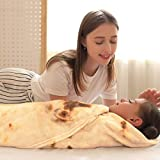 CASOFU Burritos Blanket, Burritos Tortilla Blanket, Food Flour Tortilla Throw Blankets, Soft and Comfortable Giant Flannel Taco Blanket for