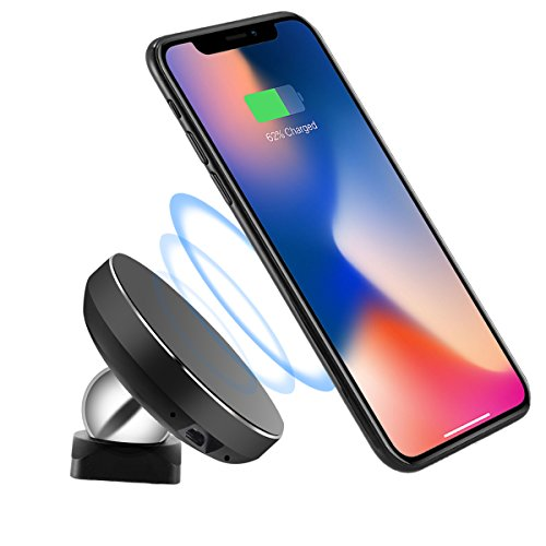 Price comparison product image Magnetic QI Wireless Charger Phone Holder, Oenbopo Wireless Car Cradle Charger Mount Phone Holder for Samsung Note8/5/4,S8/S8+,S7/S7+/S6/S6 Edge and Others Qi Enabled Phones