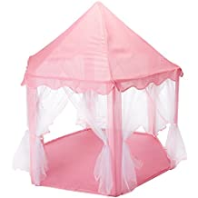 Intime Pink Princess Castle Tent Playhouse for Girls,Kids Play Tent With Star LED Lights Indoor and Outdoor (Princess Tent)