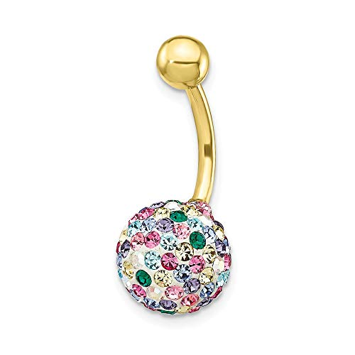 10k Yellow Gold Multi Color Crystal Ball Belly Button Rings Screw Navel Bars Body Piercing Naval Fine Jewelry Gifts For Women For Her ()