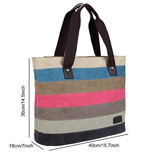 Ladies Handbag Tote Vintage Bag mpk Satchel Bags Colored Hobo Large Shoulder Women's Canvas Vcun8051 Shopping Multicolour ffAwr