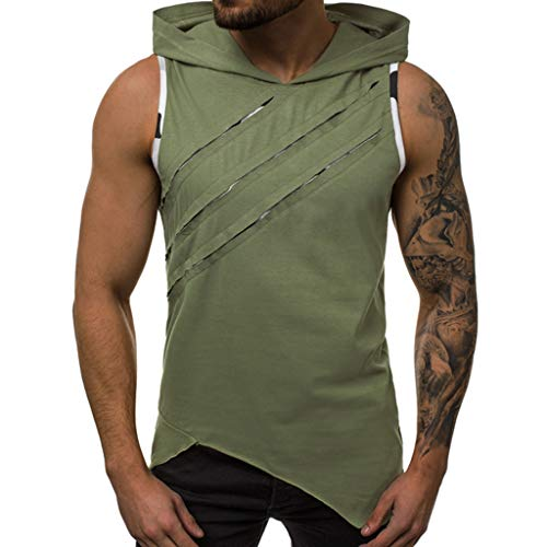 - iHPH7 Mens Workout Hooded Tank Tops Sleeveless Gym Hoodies Muscle Cut Casual Fashion Hoodie Patchwork Comfortable Vest Tops S Green