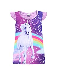 QIJOVO Unicorn Girls Nightgown Dress Princess Casual Sleepwear Pajamas Sleep Nightie for Toddler Sleep Shirts