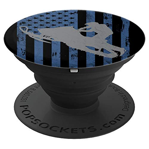 Snowmobiles Large - Snowmobile American Flag - PopSockets Grip and Stand for Phones and Tablets