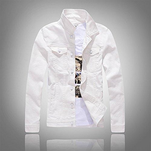 manga de de de la hombres denim de el gris YLSZ larga marea de versión de coreana dril dril de manga chaqueta larga Chaqueta jacket Serie agua algodón blanco algodón de L chaqueta 6aqwSY