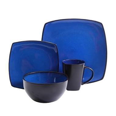 Gibson Home Soho Lounge Square Stoneware 16-piece Dinnerware Set - Blue