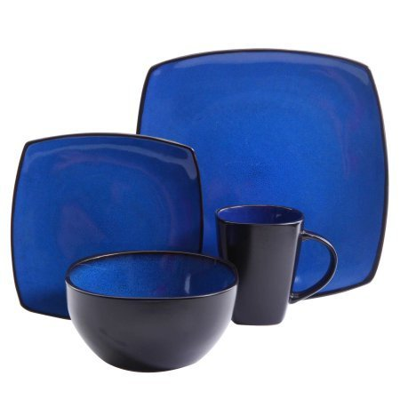 Gibson Home Soho Lounge-Soft Square 16 Piece Dinnerware Set, (Blue)