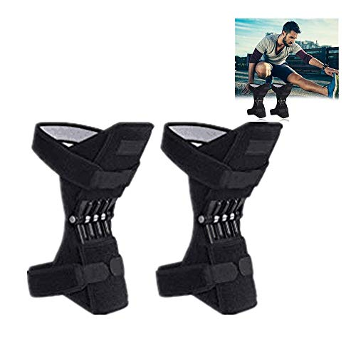 (Aobiny Knee Brace,Powerlift Joint Support Knee Pads Powerful Rebound Spring Force,Meniscus Tears, ACL, MCL Injuries, Exercise, Running (Black))