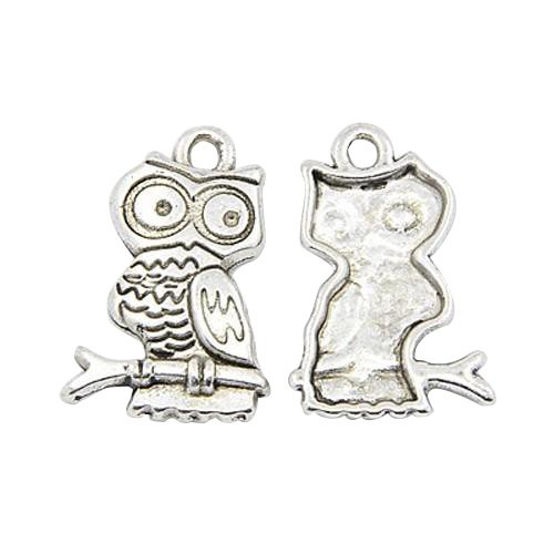 Pandahall 20pcs Antique Silver Tibetan Style Pendants, Owl for Halloween Jewelry, Lead Free and Cadmium Free, 22x15x3mm, Hole: 2mm