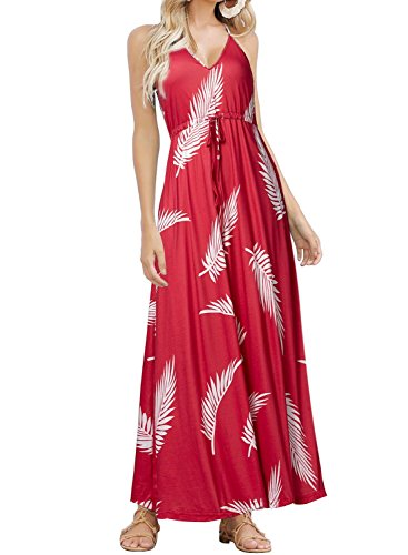 HUSKARY Womens Sleeveless V Neck Spaghetti Strap Floral Print Beach Boho Tropical Summer Maxi (Red Leaf Print)