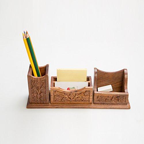 Rusticity Wooden Desk Organizer | Handmade | (10.5x4in) (Vintage Desk Organizers)