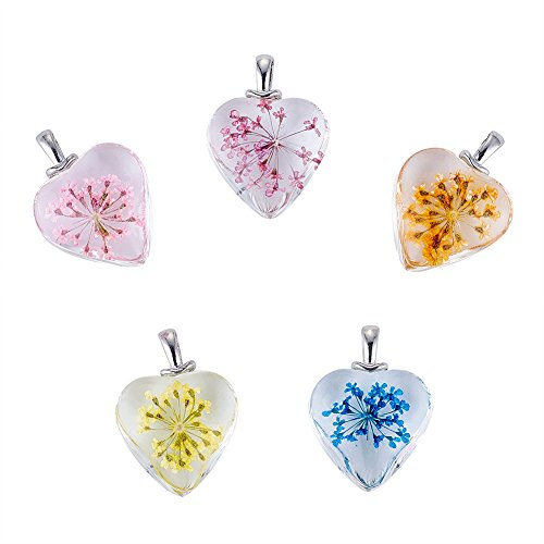 Beadthoven 5pcs Heart Glass Pendants with Dried Flower Heart Charms for Making Beading Charms Necklace Earrings & Choker DIY Valentine Gift Birthday Handmade Present