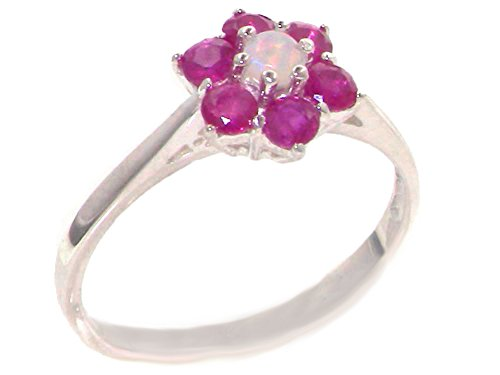 925 Sterling Silver Natural Opal and Ruby Womens Cluster Ring - Size - Ring Cluster Ruby