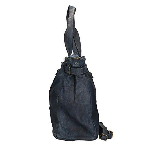 Sac femme à in Aren Italy en 40x34x16 Made bandoulière Bleu Foncé véritable cuir Cm dx6wB