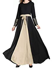 2019 Hot! Muslim Maxi Dress,Middle East Islamic Loose Long Swing Dresses Lace Sleeve Patchwork Abaya Robe Gowns