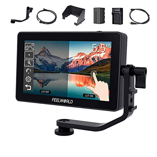 FEELWORLD F6 Plus 5.5 Inch Touch Screen DSLR Camera Field Monitor with 3D Lut Small Full HD 1920x1080 IPS Screen Suppor 4K HDMI Include Tilt Arm +Battery + Charger…