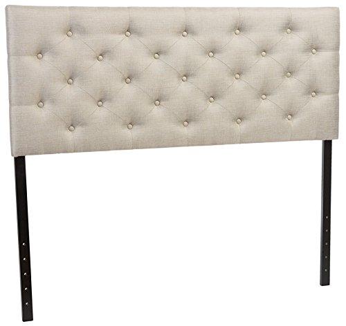 (Baxton Studio Viviana Modern & Contemporary Fabric Upholstered Button Tufted Headboard, Queen, Light Beige)