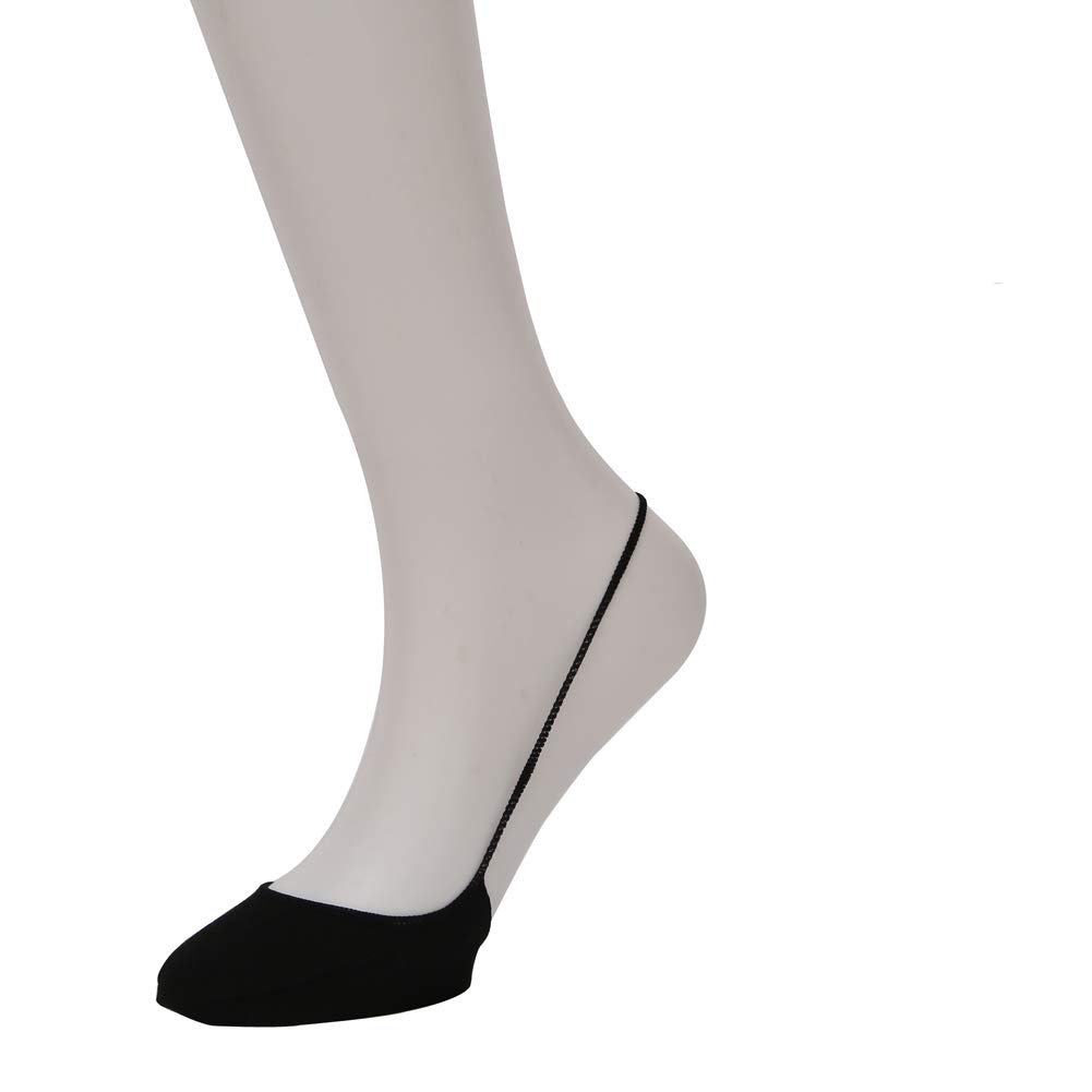 Women No Show Liner Socks Ultra Low Cut Invisible Cotton Women Half Socks Unique Sling Back for Flat Black 6 pairs