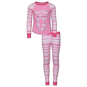 dELiA*s Girls Printed Thermal Warm Underwear Top and Pants Set, Pink Sleep, Size 10-12'