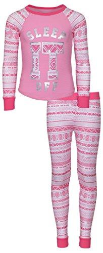 Girls Printed Thermal Warm Underwear Top and Pants Set, Pink Sleep, Size 14-16'