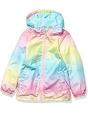 OshKosh B'Gosh Girls' Toddler Midweight Jacket with Fleece Lining, Rainbow Blocked, 2T