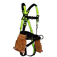 FallSafe USA FS175 EXTREME Construction Harness, Fixed Back Pad & Tool Pouches S