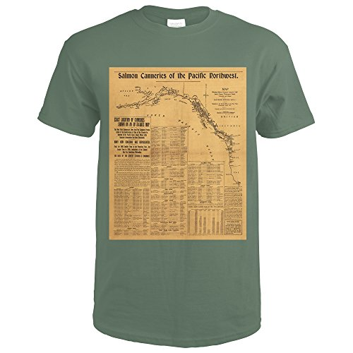 Salmon Canneries of the Pacific Northwest - (1901) - Panoramic Map (Military Green T-Shirt XX-Large)
