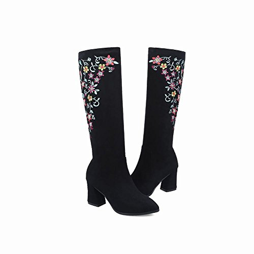 Charm Foot Mujeres Embroidery Flower Chunky High Heel Rodilleras Botas Negras