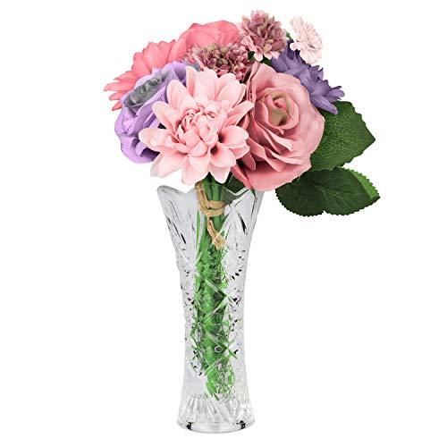 Flores Artificiales con Florero - Conjunto de 8 Flores de Seda Artificiales y Jarron para Decoracion de Hogar, Balcon, Bouquet, Bodas Fiestas y Centro de Mesa - Crisantemo Dalia Rosas Flores