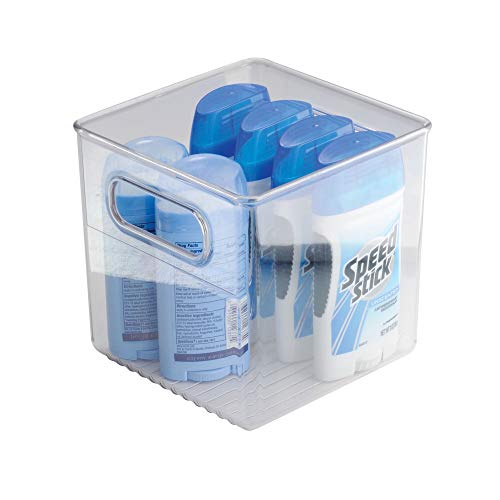 iDesign Linus Plastic Cube Vanity Organizer Bin with Handles for Health and Beauty Products, Supplies, Lotion, Perfume for Master, Guest, Kids' Bathroom, 6