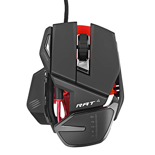 Mad Catz RAT4 Wired Optical Adjustable Gaming Mouse for PC and Mac with 9 Programmable - Optical Mouse Programmable