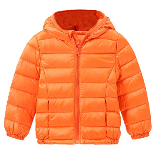 Boys Jacket Warm Orange Outerwear Winter Hooded Windproof Thin Unisex Zipper Down Kids Girls BESBOMIG Coats Jacket Lightweight 0wFYZzzq