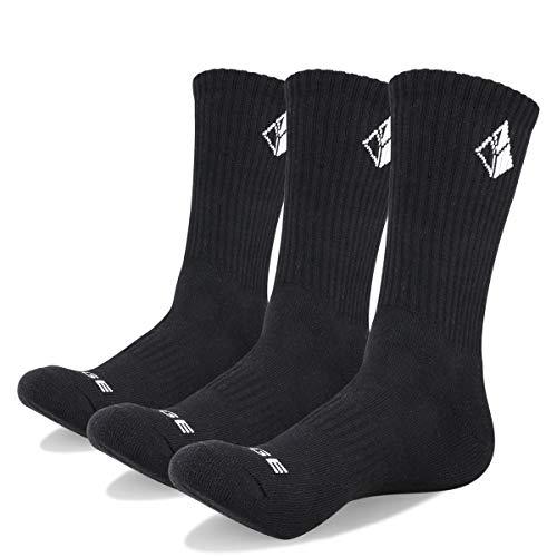 YUEDGE 3 Pairs Men's Walking Socks Cushion Crew Socks Outdoor Recreation Multi Performance Trekking Climbing Camping Hiking Socks (L) from YUEDGE