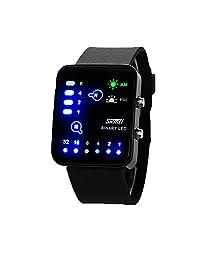 ufengke® fashion rectangle dial binary led waterproof wrist watch,unique night light sports watch for men women,black