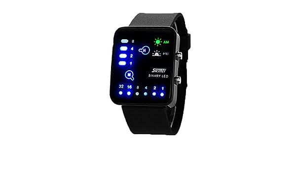 Deportivos Clásico Mujeres Hombre Relojes - Correa de PU LED Display Rectangular Binarios Relojes de Pulsera para Parejas Unisex: Amazon.es: Relojes