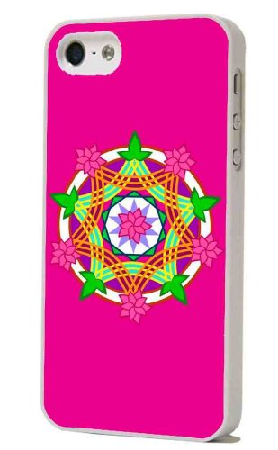 White Frame Aztec geometric pink kaleidoscope 3d Designer iphone 5 5S Case/Back cover Metal and Hard case